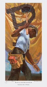a painting of a black boilermaker