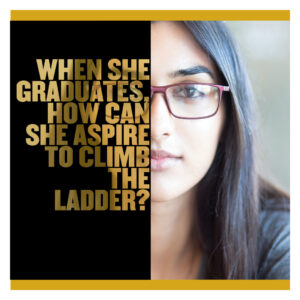"Picture of girl. ""When she graduates, how can she aspired to climb the ladder?"""