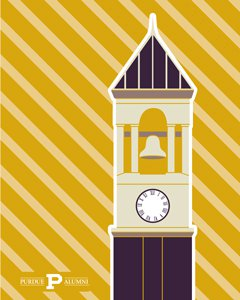 flat design of the Purdue bell tower