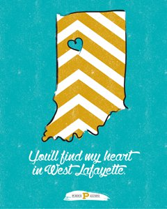 the state of Indiana with a heart at West Lafayette's location