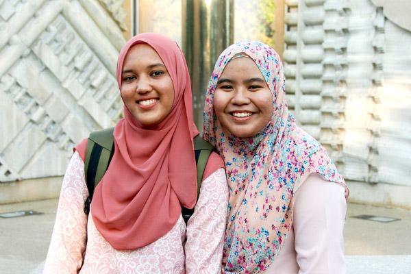 Two international girls wearing hijabs