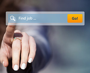 Woman looking for job by pressing search button on virtual touch screen