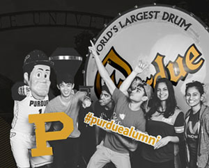 students in front of the Purdue drum with Purdue Pete