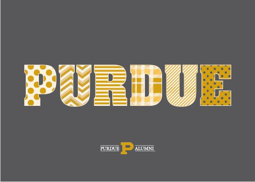 Each letter of the word Purdue has a different pattern on it