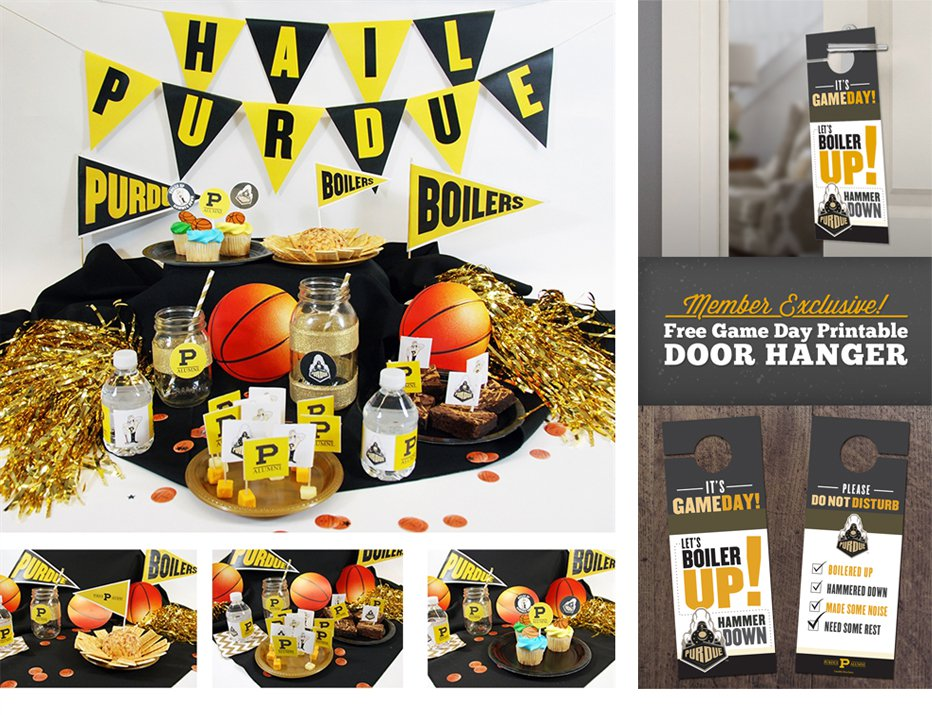 Purdue themed party setting using the printables