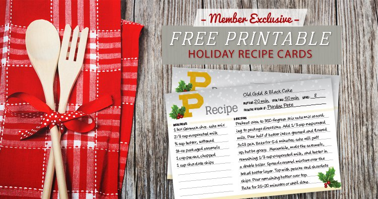 Free printable holiday recipe cards