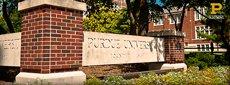The corner sign of Purdue university
